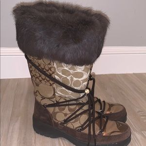 Coach Signature Laurilyn Patchwork Fur Snow Boots